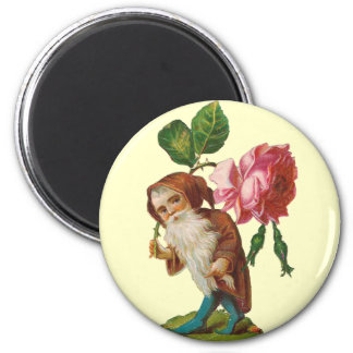 Special Vintage Gnome With A Pink Rose 2 Inch Round Magnet