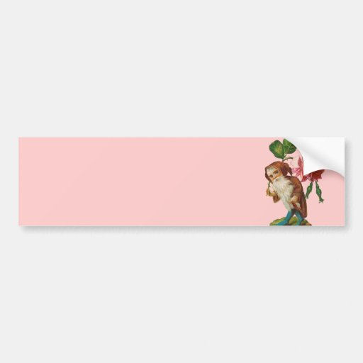 Special Vintage Gnome With A Pink Rose Bumper Sticker