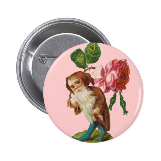 Special Vintage Gnome With A Pink Rose Button