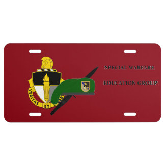 SPECIAL WARFARE EDUCATION GROUP LICENSE PLATE