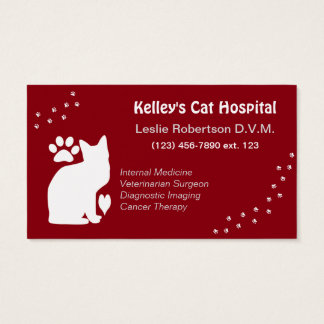 Specialist/Doctor Cat Veterinarian U pick Color Business Card
