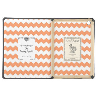 Specially Designed Tangerine And White Chevron iPad Air Cover