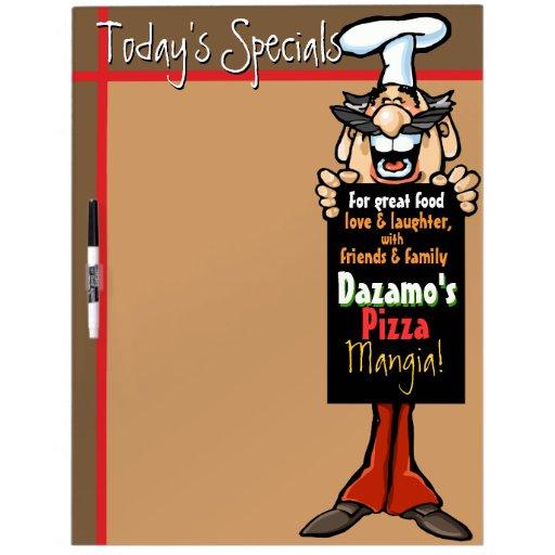 Specials diarios. Restaurante italiano. Pizzeria.D Pizarras Blancas De Calidad