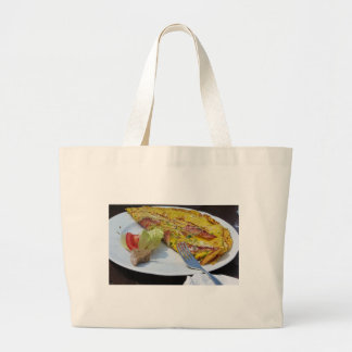 Speck and cheese omelet large tote bag