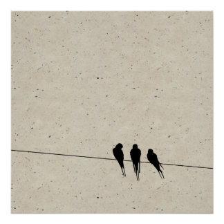 Speckle Blackbirds Silhouette on Wire Poster