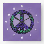 Speckled 3 Peace Sign Clock