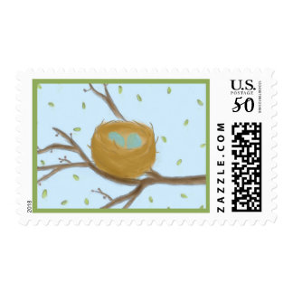 Speckled Blue Eggs in a Nest Postage Stamp