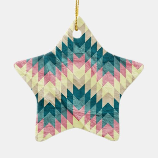 Speckled Chevron Double-Sided Star Ceramic Christmas Ornament