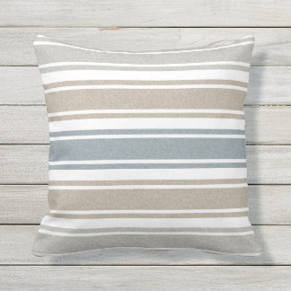 Speckled Coastal Striped Throw Pillow