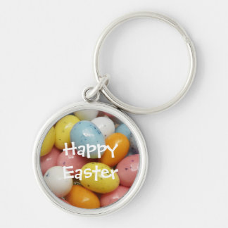 Speckled Colored Jelly Bean Easter Eggs Silver-Colored Round Keychain