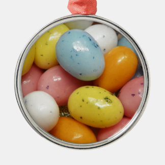 Speckled Colored Jelly Bean Easter Eggs Round Metal Christmas Ornament