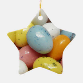 Speckled Colored Jelly Bean Easter Eggs Double-Sided Star Ceramic Christmas Ornament