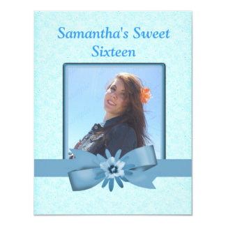 Speckled Cool Blue Modern Sweet 16 Add Photo Card