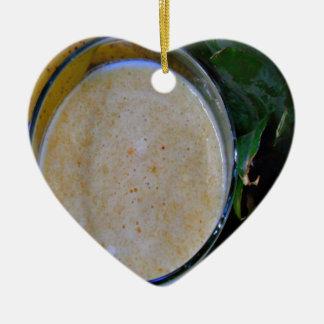 speckled cream banana pineapple smoothie ceramic ornament