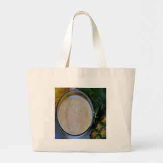 speckled cream banana pineapple smoothie large tote bag