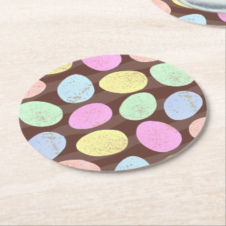 Speckled Easter Eggs Round Paper Coaster