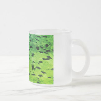 speckled green pattern 10 oz frosted glass coffee mug
