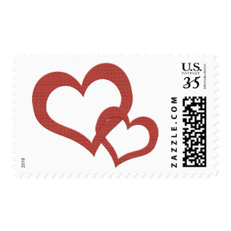 Speckled Red Love Heart Linked Valentines Stamp