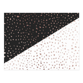 Speckled Rose Gold Flakes on Black White Geometric Postcard