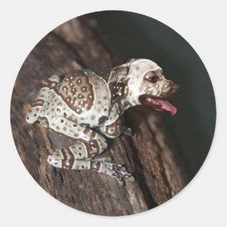 Speckled staffrog classic round sticker