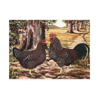 Speckled Sussex Rooster and Hen in Wooded Setting Canvas Print