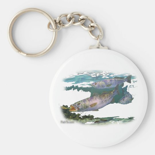 Speckled Trout Feeding Keychain