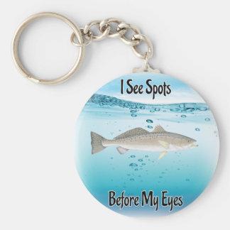 Speckled trout basic round button keychain