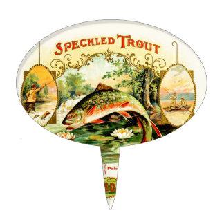Speckled Trout Vintage Art Cake Topper