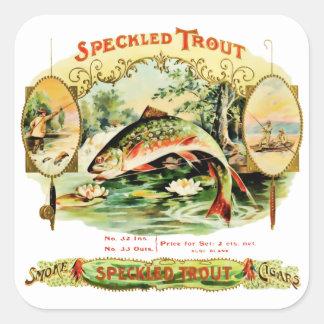 Speckled Trout Vintage Cigar Box Square Sticker