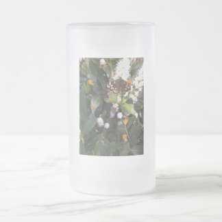 Speckled Wood Butterfly Frosted Glass Beer Mug