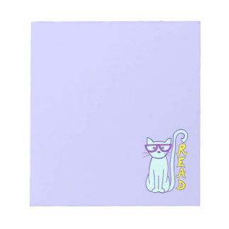 Spectacle Cat with Purple Glasses with Read sign Notepad
