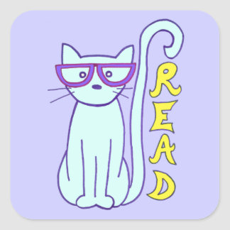 Spectacle Cat with Purple Glasses with Read sign Square Sticker