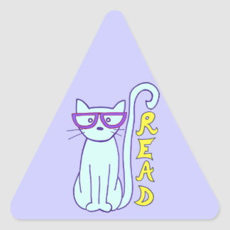 Spectacle Cat with Purple Glasses with Read sign Stickers