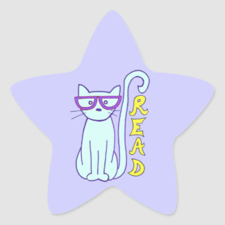 Spectacle Cat with Purple Glasses with Read sign Star Sticker