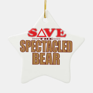 Spectacled Bear Save Ceramic Ornament