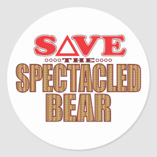 Spectacled Bear Save Classic Round Sticker