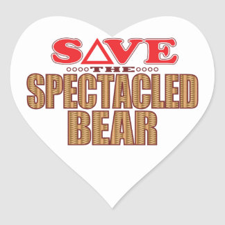 Spectacled Bear Save Heart Sticker