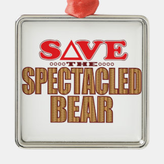 Spectacled Bear Save Metal Ornament