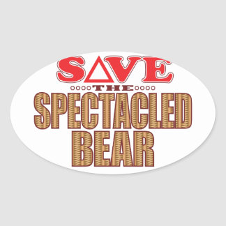 Spectacled Bear Save Oval Sticker
