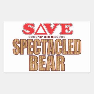Spectacled Bear Save Rectangular Sticker