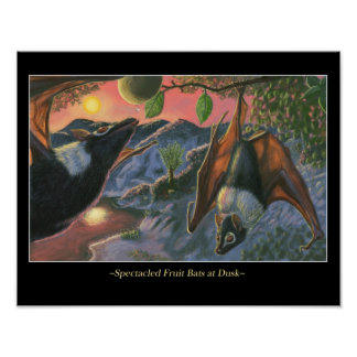 Spectacled Fruit Bats at Dusk Poster