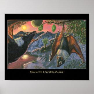 Spectacled Fruit Bats at Dusk Poster