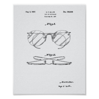 Spectacles 1937 Patent Art - White Paper Poster