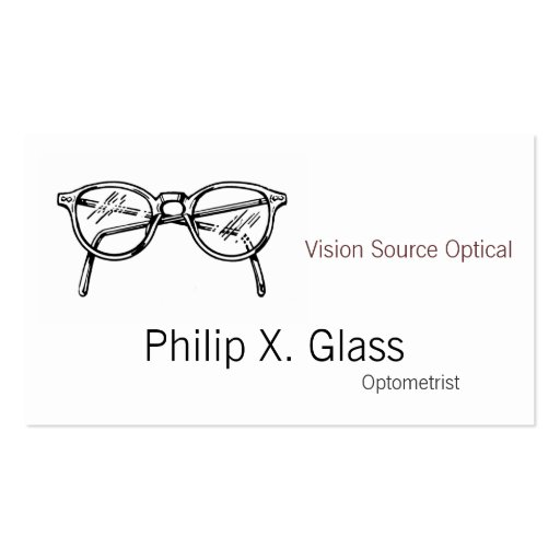 Spectacles Eyewear Optical Vision Business Card Templates