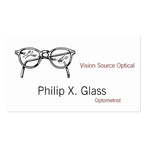 Spectacles Eyewear Optical Vision Business Cards