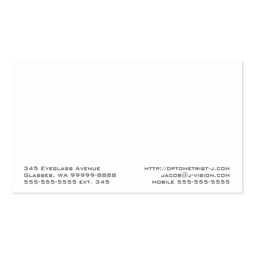 Spectacles Eyewear Optometry Vision Scratchy Business Cards (back side)