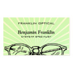 Spectacles Eyewear Sunburst Optical Vision Business Card