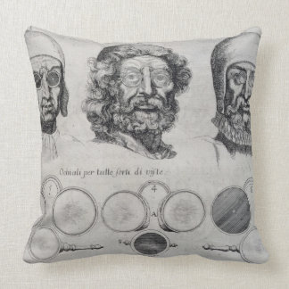 Spectacles for All Strengths of Vision (engraving) Throw Pillow