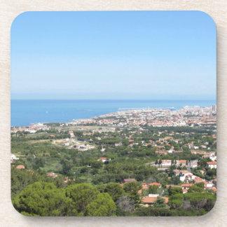Spectacular aerial panorama of Livorno city Beverage Coaster
