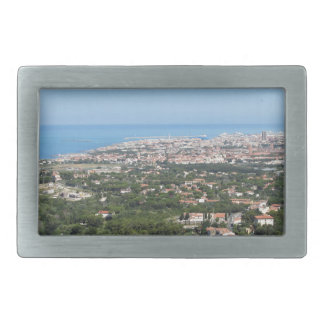 Spectacular aerial panorama of Livorno city, Italy Belt Buckle